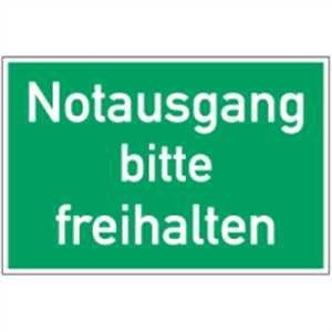 Schild Notausgang bitte freihalten PVC 20 x 30cm (Rettungsschild, Fluchtweg) praxisbewährt, wetterfest
