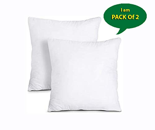 Iyan Soft Furnishing Cushion Inner Pads (Pack of 2 - White) - Hollowfibre Cushion Fillers / (50 x 50 cm) Cushion Inserts Scaters 20' x 20'