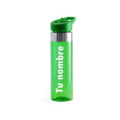 Curia Grabador Botella de Agua Personalizada con tu Nombre. BPA Tritan Plástico Reutilizables Ecológica con Filtro, Water Bottle para Niños & Adultos, Gimnasio, Yoga, Oficina (Verde)