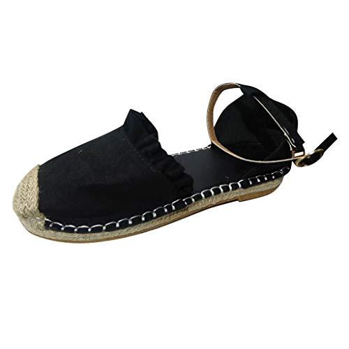 Sommer Sandalen Retro Flache Beiläufige Schuhe Stroh Leinen Schnalle Rüsche Pumps Damenschuhe