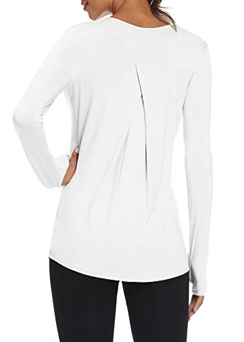 Mippo Long Sleeve Shirts Activewear Tops Workout Athletic Pilates T-Shirts Long Sleeve Running Shirts Exercise Fitness Clothes for Women White S