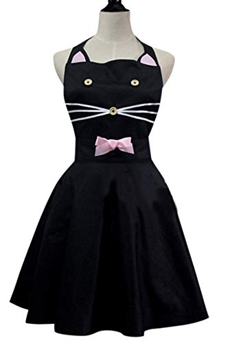 CRB Fashion Womens Ladies For Kitty Cat Apron Kitchen Baking Cooking Dress Up Cosplay Anime, Black, Medium