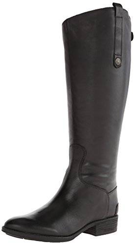 Sam Edelman Women's Penny Classic Equestrian Boot, Black Leather, 8 Wide US