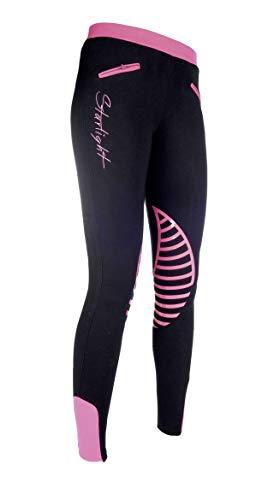 HKM Reitleggings -Starlight- Silikon-Kniebesatz, schwarz/pink, 158/164