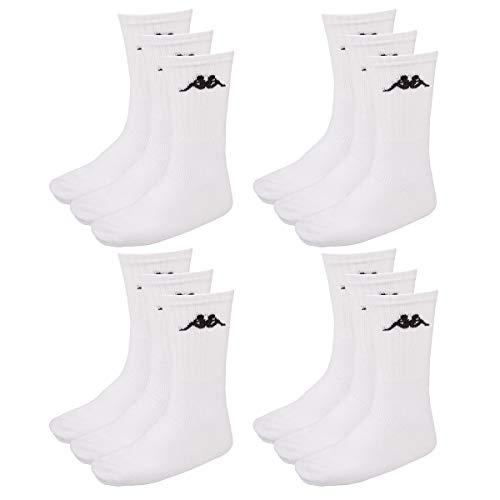 Kappa 12 Paar SONOTU 3 Sportsocken Gr. 35-46 Unisex Tennissocken, Socken und Strümpfe:39-42, Farbe:White