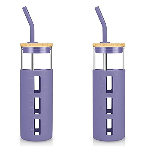 tronco Vaso de cristal de 24 onzas, botella de agua de cristal, funda de silicona con pajita, tapa de bambú, libre de BPA (morado/2 unidades)