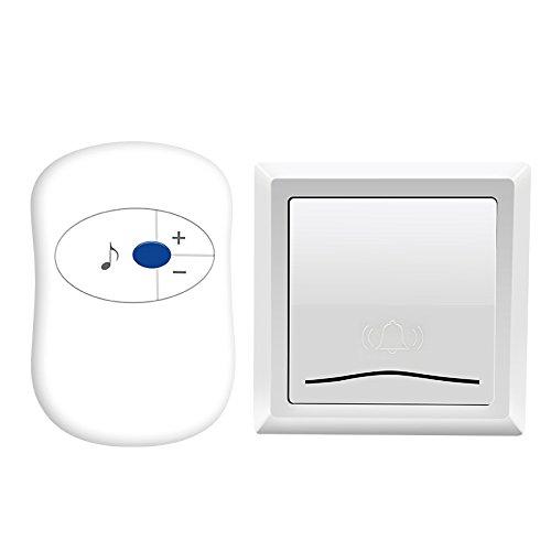 Electronic doorbells LDFN Wireless Türklingel Home Pager AC Power Fernbedienung Ohne Kabel Alarmanlage Notruftaste,White