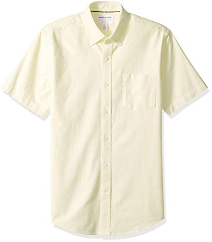 Amazon Essentials Men's Slim-Fit Short-Sleeve Pocket Oxford Shirt, Yellow, Small
