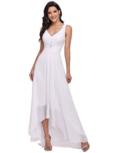 Ever-Pretty Alta Baja Vestido de Novia Gasa Dama de Honor Cuello en V sin Mangas para Mujer Blanco 38
