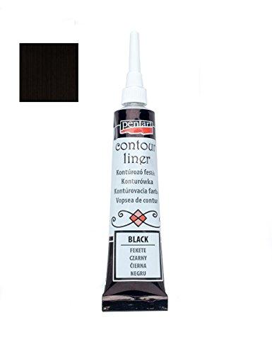 Konturenfarbe universell 20ml - schwarz, Konturenpaste, Bastelfarbe, Acrylfarbe
