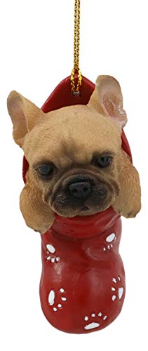 Ebros Realistic Frenchie French Bulldog in The Sock Small Hanging Ornament Figurine with Glass Eyes Adorable Holiday Festive Season Decor Sculpture for Christmas Trees Animal Pet Collectible