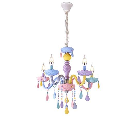 Metdek Rainbow Crystal - Lámpara de araña para habitación infantil (5 cabezales)