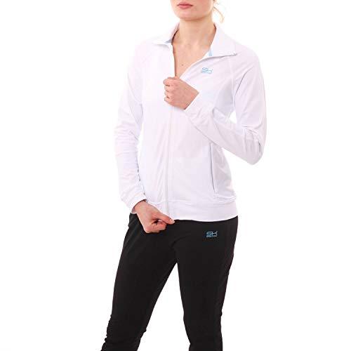 SPORTKIND Veste de Survêtement de Tennis/Fitness/Sport pour Filles & Femmes, White, Size X-Large