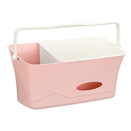 Navaris Wickeltisch Organizer zum Einhängen - Behälter für die Wickelkommode - Aufbewahrung für u.a. Windeln mit Waschschüssel - rosa
