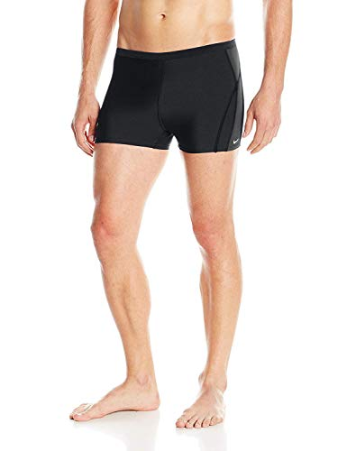 Nike Men's Team Poly Square Leg Swimsuit (34, Black)
