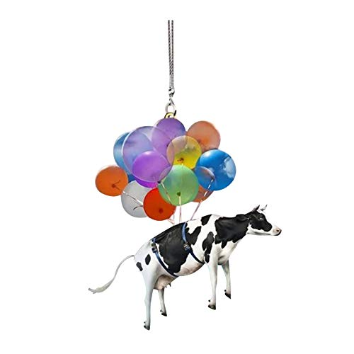 2021 New Car Cute Cat/Dog Hanging Ornament with Colorful Balloon/Parachute, Taking Off The Ship Hanging Pendent Decor, Creative Aerosphere Hanging Ornament Car Interior Decoration Gift (1pc, Cow 01)