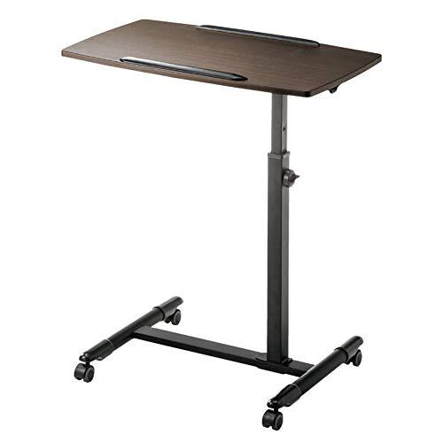 ZXL Laptop tafel Computer trolley tafel Verstelbaar tafelblad en wieltjes Multifunctioneel werkstation bed Sofa nachtkastje (Kleur: Bruin)
