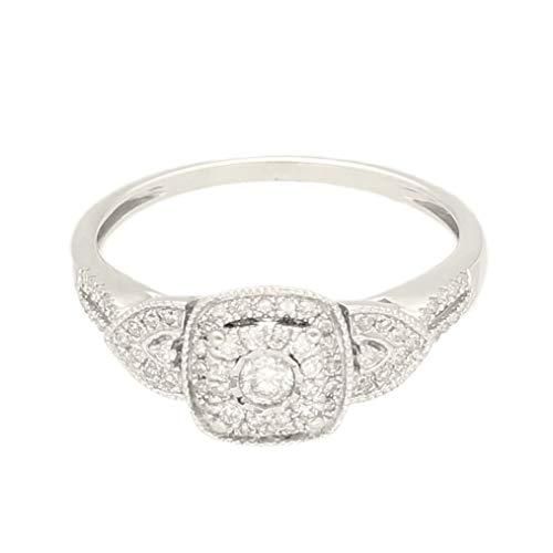 Anillo de oro blanco de 9 quilates con diamantes de 0,33 quilates (tamaño P 1/2) 15 x 9 mm | Anillo de lujo para mujer