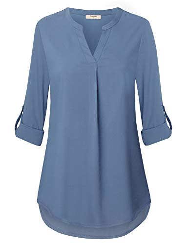 Womens Tops and Blouses,Flowy Work Shirts for Women Casual Chiffon V Neck Tunics Tops for Office Wear Spring Fall Business Attire Formal Plue Size Professional Tops for Leggings (X-Large, Blue Gray)