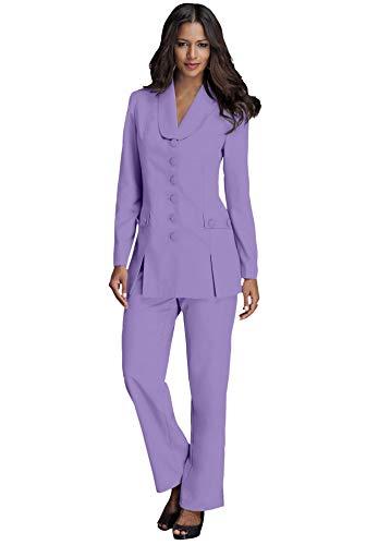 Roamans Women's Plus Size Ten-Button Pantsuit - 26 W, Vintage Lavender Purple