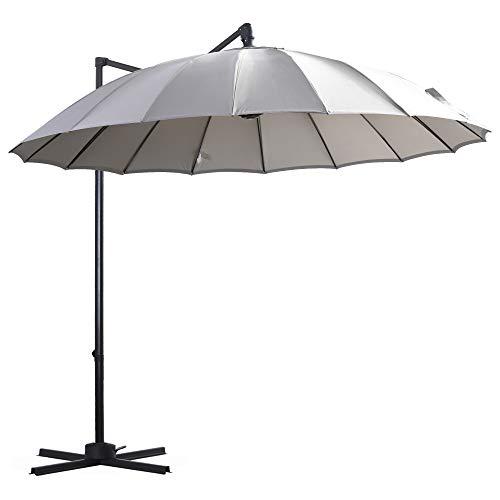 Outsunny Parasol Sombrilla de Jardín Ø300 cm de Diámetro con Manivela y Poste Giratorio 360° Techo Inclinable en 6 Posiciones Base Cruzada Incluida Gris