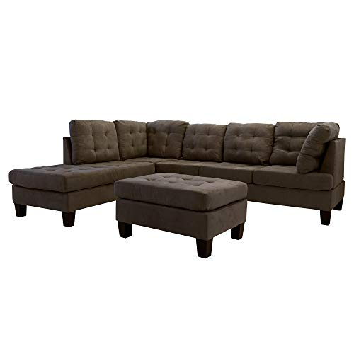 Casa Andrea Milano llc 3 Piece Modern Tufted Micro Suede L Shaped Sectional Sofa Couch with Reversible Chaise & Ottoman, Large, Chocolate