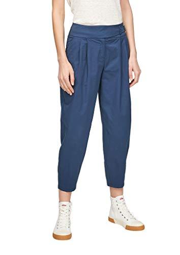 s.Oliver Damen Regular Fit: Verkürzte Bundfaltenhose faded blue 46