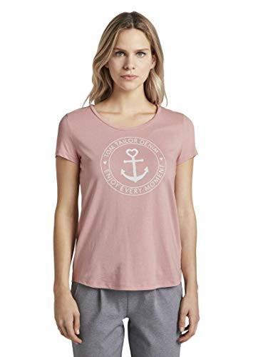 TOM TAILOR Denim Damen Basic Logo' T-Shirt, Rosa (11056-Dusky Flower Pink), XL