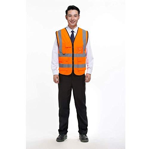 DBSCD Sicherheitsweste für Männer, reflektierende Sicherheitskleidung, Overalls, Fluoreszierende grüne Weste, Warnanzug, reflektierende Weste Overalls (orange)