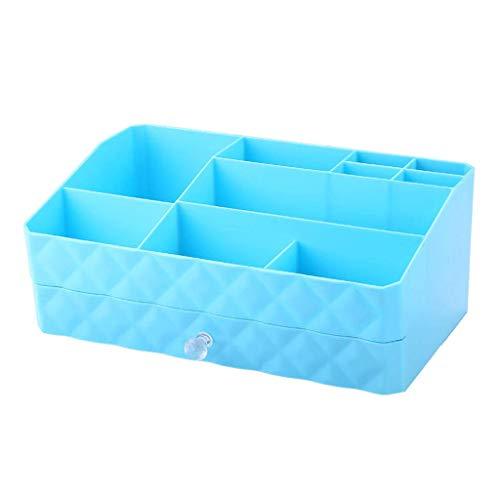 BOX Type de Tiroir Cosmétiques Boîte de Rangement En Plastique Créativité Bureau Lipstick Bijoux Soins de La Peau Produits de Stockage D'Affichage Boîte 30 × 18,5 × 12,5 Cm (Couleur: Rose),Bleu