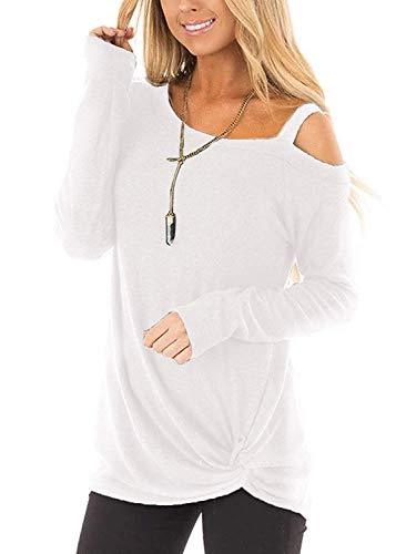 Beluring Damen Langarmshirt Schulterfrei Oberteil Casual Bluse Tunika Weiß S