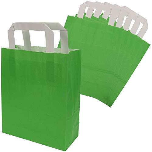 trendmarkt24 Papiertragetaschen grün 6 Stück mit Papiergriff Papiertüten ca. 18x22x8 cm Papiertaschen Kraftpapier Geschenkstüten Einkaufstüten Papiertragetüten basteln   23294-A