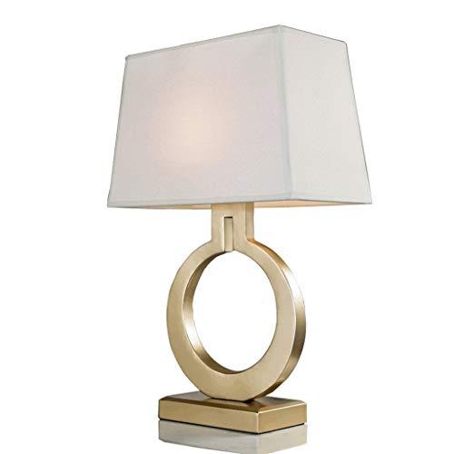 Lámparas de mesa y mesilla de noche Lámpara de sobremesa cuadrada, estudio de dormitorio, lámpara de mesa de tela simple, lámpara de escritorio retro europea creativa, local, dorada Lámparas de escrit