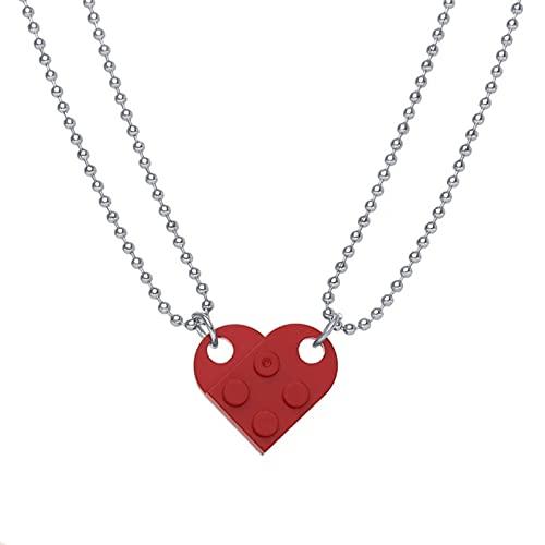 ZhenS Punk 2Pcs Corazón Ladrillo Parejas Collar de Amor para Amantes Mujeres Hombres Elementos Amistad Collares Regalo de San Valentín Joyería-Vino rojo-49,60cm