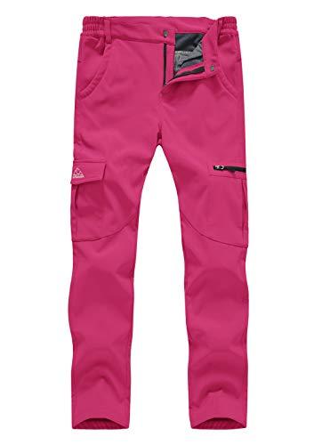 donhobo Damen Gefüttert Winterhose Winddicht Wasserdicht Atmungsaktiv Warm Softshell Hose Outdoor Trekking Wandern Ski Funktionshose Berghose Rosa M