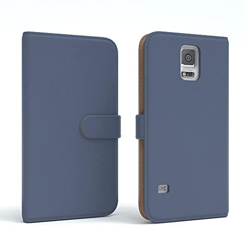 EAZY CASE Tasche kompatibel mit Samsung Galaxy S5/LTE+/Duos/Neo Schutzhülle mit Standfunktion Klapphülle Bookstyle, Handytasche Handyhülle mit Magnetverschluss & Kartenfach, Kunstleder, Dunkelblau