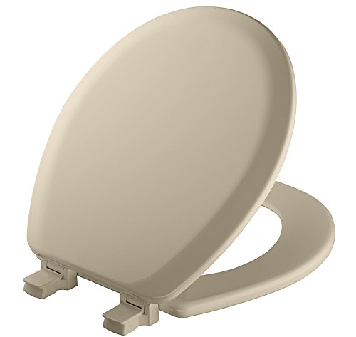 MAYFAIR 841EC 006 Cameron Toilet Seat will Never Loosen and Easily Remove, ROUND, Durable Enameled Wood, Bone