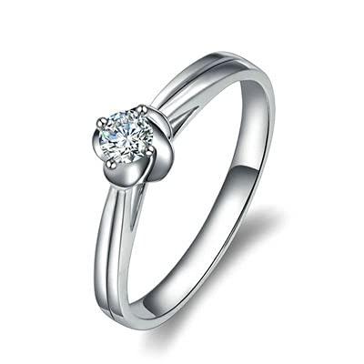 Bishilin Anillo de Compromiso Oro Blanco 750, Flor 0.14 Diamante Anillo de Compromiso de Matrimonio Ajuste Cómodo Regalos para Cumpleaños Navidad Joyería de Las Mujeres Platatamaño: 11