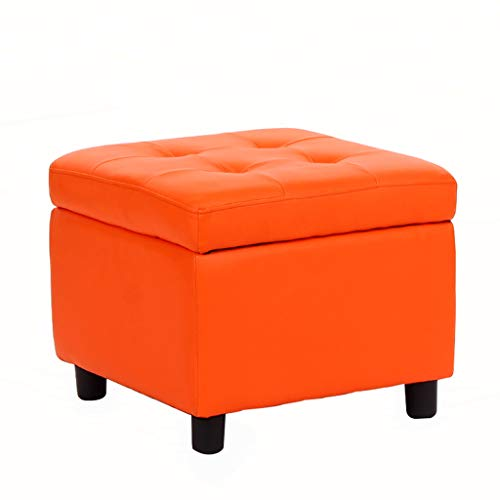 Lianlili Almacenamiento de Las heces, Vestir Banco de uñas, Banco de Zapatos/de los niños Sofá Banco/otomana/Cuero Artificial de la PU (Color : Orange)