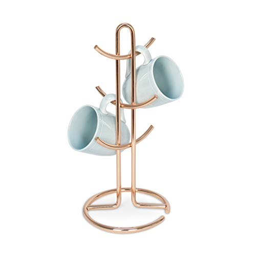 Takyl Home Decorative 6Mug Tree Stand Coffee Cup Holder with 6 Hooks for Hanging or Displaying Coffee Mugs or Tea Cups for Kitchen Cup Storage Rose Gold