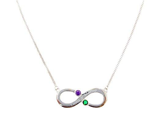 KIDDI-MEDIA Infinity Halskette mit 2 Namen graviert (Unendlichkeit) inkl. 2 farbigen Geburtsmonat Kristalle nach Wahl (Geburtsstein) / 40 cm in 925 Sterling Silber/für 2 Kindernamen oder Liebespaare