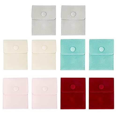 NBEADS 10 bolsas de terciopelo, bolsas de tela de terciopelo, bolsas de joyería con botón de presión de hierro para regalo de dulces y joyas, collar y pulsera, 7,1 x 6,9 cm, 5 colores
