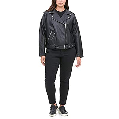 Levi's Women's Faux Leather Asymmetrical Belted Motorcycle Jacket (Regular and Plus Sizes), Black, 1X