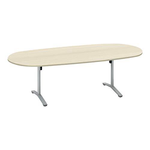コクヨ ミーティングテーブル ビエナ 天板固定 楕円形 T字脚 塗装脚 配線ボックスなし 幅240×奥行105cm キャスター仕様 ホワイトナチュラル/フラットシルバー