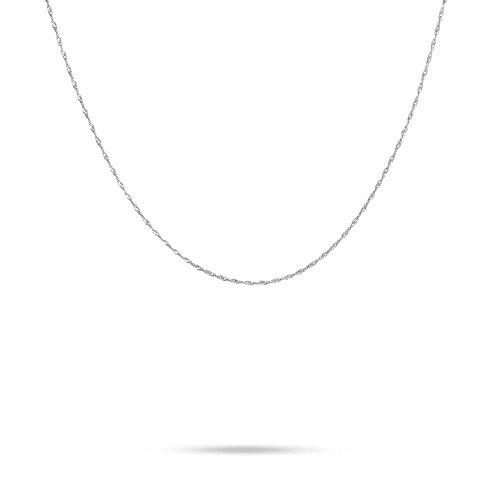 Stroili - Collana catena in oro bianco a maglia Singapore per Donna