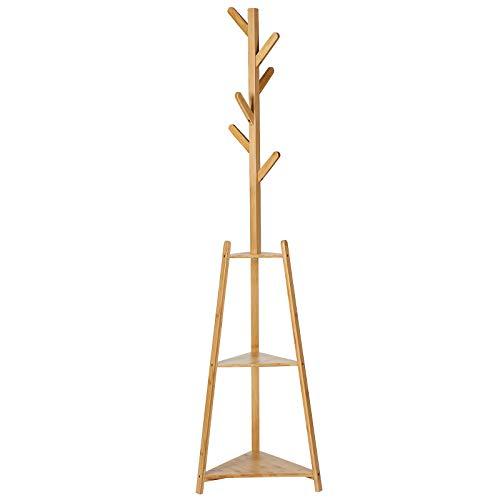 SONGMICS Attaccapanni da Terra, Appendiabiti in bambù con 2 Ripiani Portaoggetti e 6 Ganci, Attaccapanni ad Albero per Ingresso, Corridoio, Montaggio Facile, Naturale RCR306NL