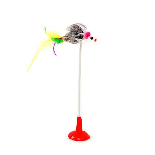 Greatangle Ventosa Vertical Divertido Gato Palo Color Pluma Ratón Gato Juguete Adsorción Cara Lisa Divertido Gato Palo Mascota Juguete Pluma