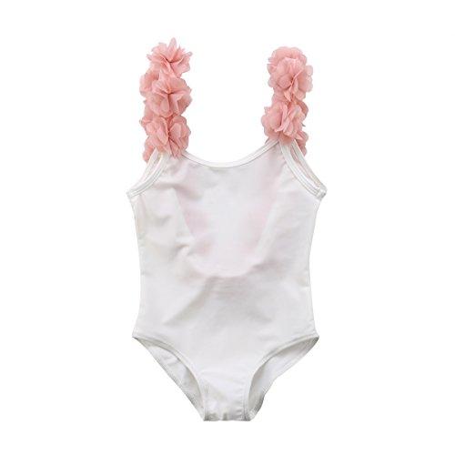 Geagodelia Costume da Bagno Intero Neonata Bambina 0-7 Anni Smanicato Stampati Cartoon Carino Bikini Bimba Multicolori (Nero&Bianco02, 5-6 Anni)