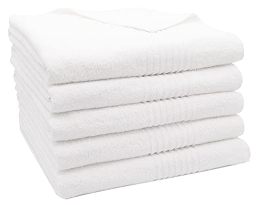 ZOLLNER 5er Set Badetücher, 100x150 cm, 100% Baumwolle, 380 g/qm, weiß
