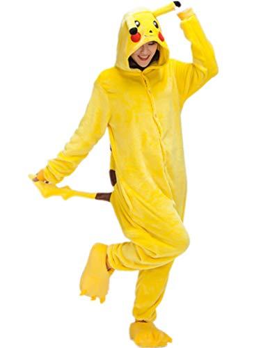 ZBSPORT Unisexo Adulto Pikachu Disfraz de Carnaval Pijama Cálido de Animales Ropa de Dormir Halloween Cosplay Navidad Animales de Vestuario